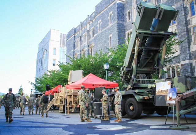 Air Defense Artillery (above) and Armor (left) catch the attention of cadets as they observe the displays during Branch Week Tuesday. Branch Week, Tuesday through Saturday, is an annual event designed to give cadets a chance to learn more about the 17 U.S. Army branches available to officers, with the new addition of public affairs as a functional area to learn about during the week. Cadets from each class year spoke with representatives to help them decide which branch best fits them for a professional career.