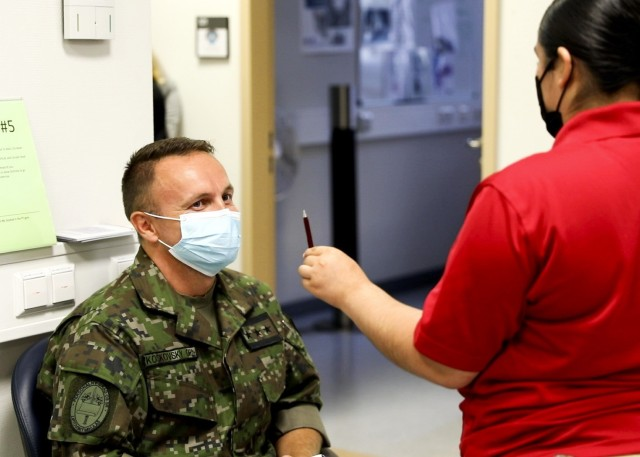 Medical professionals of the Slovak Republic Armed Forces visit with Landstuhl Regional Medical Center trauma specialists during a military medical expert exchange at LRMC, Aug. 19.
