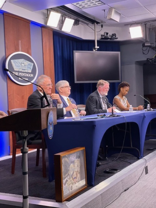 Survivors from the terrorist attack at the Pentagon on Sept. 11, 2001, discuss their personal experiences from inside the building during a media event Sept. 8, 2021.