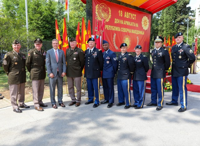 Members of the Vermont National Guard attend a celebration for Army Day at the Ministry of Defense in Skopje, North Macedonia, Aug. 18, 2021. The holiday commemorates the creation of the Mirče Acev battalion in 1943. The battalion laid the foundation of the People's Liberation Army of Macedonia that fought against the Axis forces during WWII. (U.S. Army photo by Sgt. Gloria Kamencik)