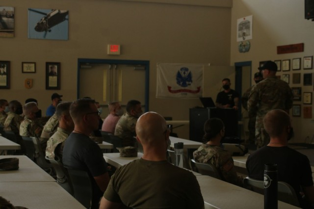 Army Chaplain candidates gather for classroom instruction Sept. 2 at The Sabalauski Air Assault School before rappelling from a tower during the inaugural Army Chaplain Experience Day.