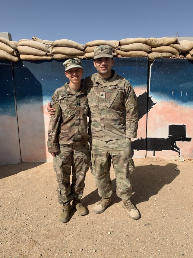 West Virginia Army National Guard Cpt. Brittany Watson, a medical operations officer in the 111th Engineer Brigade, and Sgt. Andres Rivera, a carpentry and masonry specialist in the 766th Engineer Company of the 111th, recently reunited during a deployment to the Middle East. They had not seen each other in over 12 years. (Courtesy)
