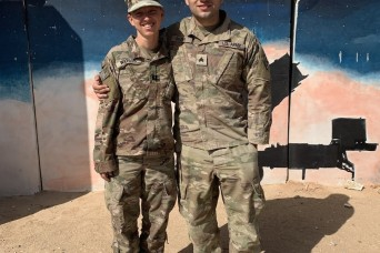 Aunt, nephew reunite during Middle East deployment