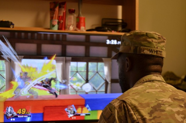 Specialist Kevyn White, 584th Support Maintenance Company, 101st Division Sustainment Brigade, 101st Airborne Division (Air Assault), practices for Fort Campbell Esports' regularly scheduled Super Smash Brothers Ultimate tournaments Aug. 31 at his barracks. Fort Campbell Esports currently hosts online tournaments for a variety of games 8 p.m. every other Friday through Discord, a digital platform that allows users to communicate through voice and video calls, text messages, images and other media. In-person tournaments focused on fighting games are hosted 4 p.m. every other Wednesday at the Warrior Zone, but are currently on hold while the facility is being remodeled.