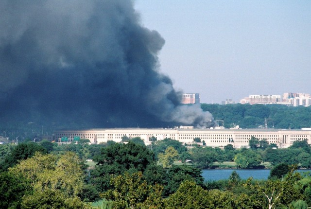 Clouds of smoke billow out of the Pentagon on Sept. 11, 2001.