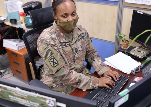 Master Sgt. Yadriana M. Kavitz, the senior logistics services noncommissioned officer for the Fort Bragg, N.C., based 3rd Expeditionary Sustainment Command, works in support of her unit's mission as the operational command post for 1st Theater Sustainment Command at Camp Arifjan, Kuwait, Sept. 11, 2021. Kavitz, a native of New York City, N.Y., has a doctorate of education degree in organizational change and leadership and also served as the former first sergeant for Headquarters and Headquarters Company, 3rd ESC. Kavitz writes that she has first-hand experience with Soldier suicide, and wants to help leaders better understand their role in the well-being of their Soldiers.