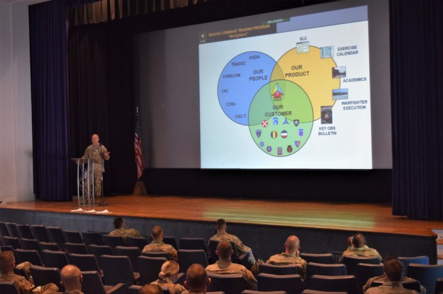 Col. Bryan Babich, Mission Command Training Program commander, talks to an audience about the organization's mission and purpose during a training academy for Observer Coach/Trainers at Fort Leavenworth, Kan., September 9, 2021. The academy facilitates OC/T's certification beginning with in-person instruction and a doctrine test.