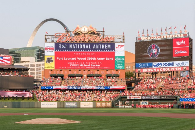 The 399th Army Band and a Fort Leonard Wood joint-service color guard participated in the pre-game ceremonies for the annual St. Louis Cardinals and AUSA Military Appreciation Game Saturday at Busch Stadium.