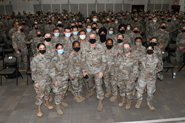Lt. Gen. Theodore Martin, Commander U.S. Army Combined Arms Center, or CAC, visited U.S. Army Medical Center of Excellence, or MEDCoE, Joint Base San Antonio-Fort Sam Houston, September 8-10. Pictured as Martin posed for dozens of group photos and selfies with MEDCoE Basic Officer Leader Course students, at their request, after a Leader Professional Development session, 9 September, in Blesse Auditorium.
