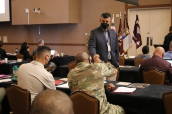 Command teams from 65th Medical Brigade gather for commander's conference