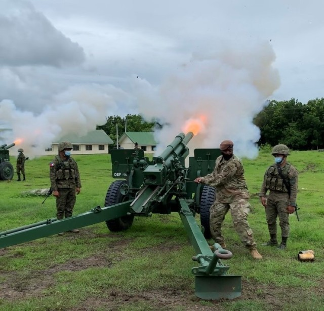 Staff Sgt. Julius Shannon, Field Artillery Advisor Team 5412, fires a ceremonial wax round on a M101 105mm Howitzer during the bilateral exercise, Salaknib '21, July 22, 2021 at Fort Magsaysay, Philippines.