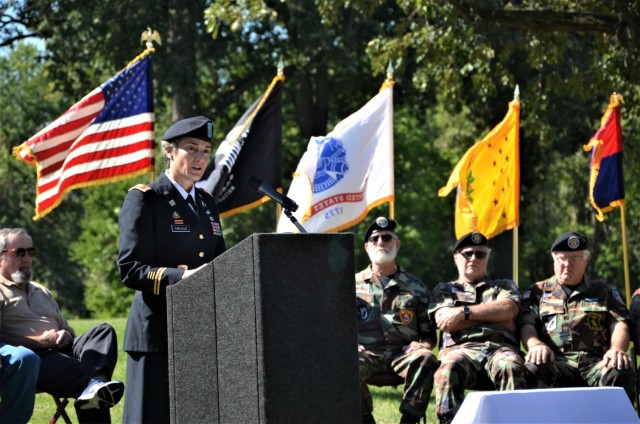 Col. Heather Carlisle, U.S. Army Sustainment Command, was a guest speaker at the Americal Division Memorial Dedication at Rock Island National Cemetery in Illinois and shared her thoughts on the importance of appreciating veterans' service. Photo by: Staci-Jill Burnley, ASC Public Affairs