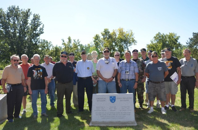 American Division veterans spanning from World War II to Vietnam gathered to honor their history at the Americal Division Memorial at Rock Island National Cemetery in Illinois. Photo by: Staci-Jill Burnley, ASC Public Affairs