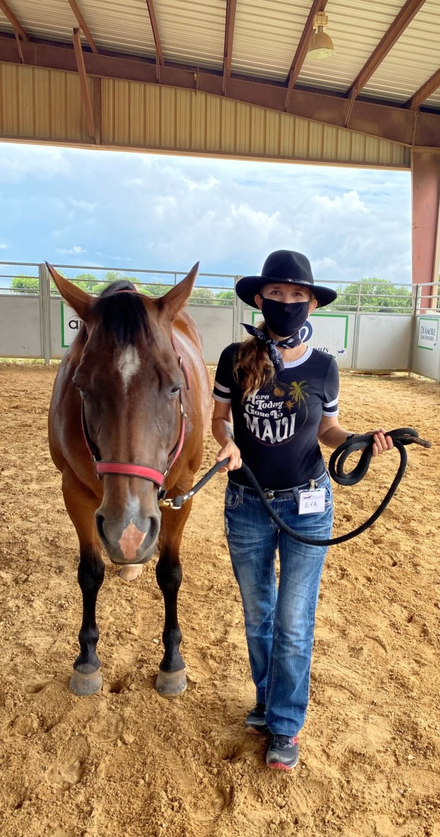 Maj. Eva I. Owen, a Soldier assigned to the Fort Hood Soldier Recovery Unit, Texas, took part in a therapeutic horseback riding program on June 28 at a facility located in McGregor, Texas. (Photo courtesy of Maj. Eva I. Owen)
