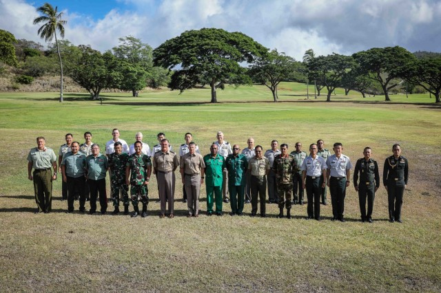 Army chiefs from land forces from across the Indo-Pacific region gather for a group photo Sept. 14, 2021 at the Hale Ikena golf course at Fort Shafter, Hawaii, during the Indo-Pacific Armies Chiefs Conference (IPACC) and Senior Enlisted Leaders Forum.  The IPACC is a biennial military seminar that provides a forum for senior level officers from the Indo-Asia Pacific's regional ground forces to discuss differences, establish trust, mitigate miscalculations, resolve challenges, and find commonality among the participating multinational-professional soldiers. The theme of this year's conference is Environmental Impacts of Land and Littoral Operations. The SELF is an annual military seminar that runs concurrently with the Indo-Pacific Armies Chiefs Conference that provides a forum to hold group discussions and professional development directed at senior enlisted personnel from the various countries.