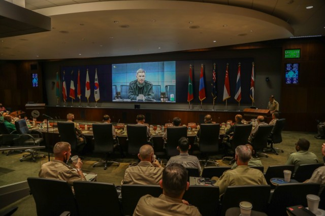Gen. James C. McConville, Vice Chief of Staff of the United States Army, gave opening remarks before the plenary sessions on day 2 of the 12th Indo-Pacific Armies Chiefs Conference/Senior Enlisted Leaders Forum Sept. 14, 2021, on Fort Shafter, Hawaii. The theme of this years' conference was Environmental Impacts on Land and Littoral Operations. Plenary sessions featured panels of distinguished speakers who provided expert analysis and spurred lively discussions on the topic.