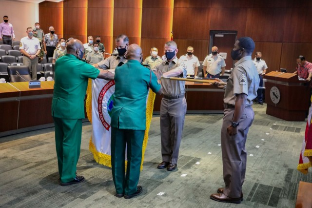 U.S. Army General Charles Flynn, commanding general of the U.S. Army Pacific; Command Sgt. Maj. Scott Brzak, the command sergeant major of the U.S. Army Pacific; Papua New Guinean Maj. Gen. Gilbert Toropo, commander of the Papua New Guinea Defense Force; and Chief Warrant Officer 1 Donald Yalom case the colors representing Indo-Pacific Armies Chiefs Conference (IPACC) Sept. 14, 2021 at the U.S. Army Pacific Command and Control Facility main conference room at Fort Shafter, Hawaii marking the ending of this year's conference.  Army chiefs from land forces from across the Indo-Pacific region gathered for the biennial IPACC, a military seminar that provides a forum for senior level officers from the Indo-Asia Pacific's regional ground forces to discuss differences, establish trust, mitigate miscalculations, resolve challenges, and find commonality among the participating multinational-professional soldiers. The theme of this year's conference is Environmental Impacts of Land and Littoral Operations. The SELF is an annual military seminar that runs concurrently with the Indo-Pacific Armies Chiefs Conference that provides a forum to hold group discussions and professional development directed at senior enlisted personnel from the various countries.