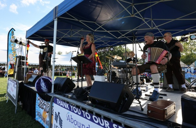 The Schnickelfritz Band performs traditional German music at the annual Fort Knox Oktoberfest celebration Sept. 17, 2021, on Brooks Field.