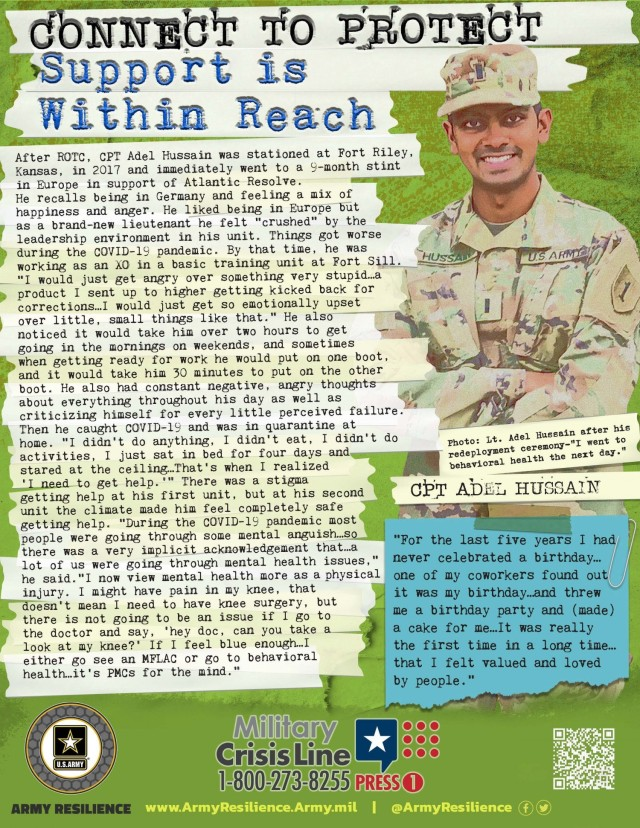 """CONNECT TO PROTECT is a strategy designed to encourage Soldiers, their Families and Department of the Army civilians to take action to make connections with and reach out to the people around them and the resources in our community.  In keeping with the theme of connectedness, the Army is focusing on """"It's the Little Things that Matter"""" – """"the little things"""" include the daily interactions with our friends, Family, and peers.  Those little things build strong relationships and act as protective factors. (Courtesy asset from Army Resilience Directorate)"""