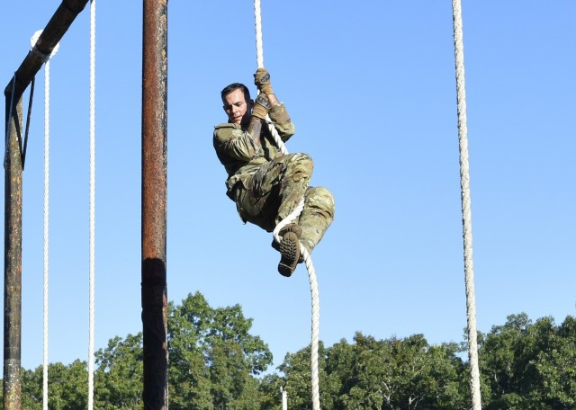 Cadet Marcus Slattery competes at the physical endurance course Sept. 17 at Training Area 98, as part of the Army ROTC Gateway Battalion's fall FTX.