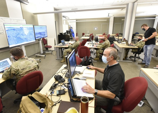 Soldiers assess the Protection Planning, Visualization and Assessment Tool, or PPVAT, a comprehensive, interactive decision-support tool that supports development, modification and validation of protection plans for deploying forces via 2D and 3D visualization. The PPVAT software first debuted at MSSPIX in 2019, and has been modified based on feedback from Soldiers and other analysts.
