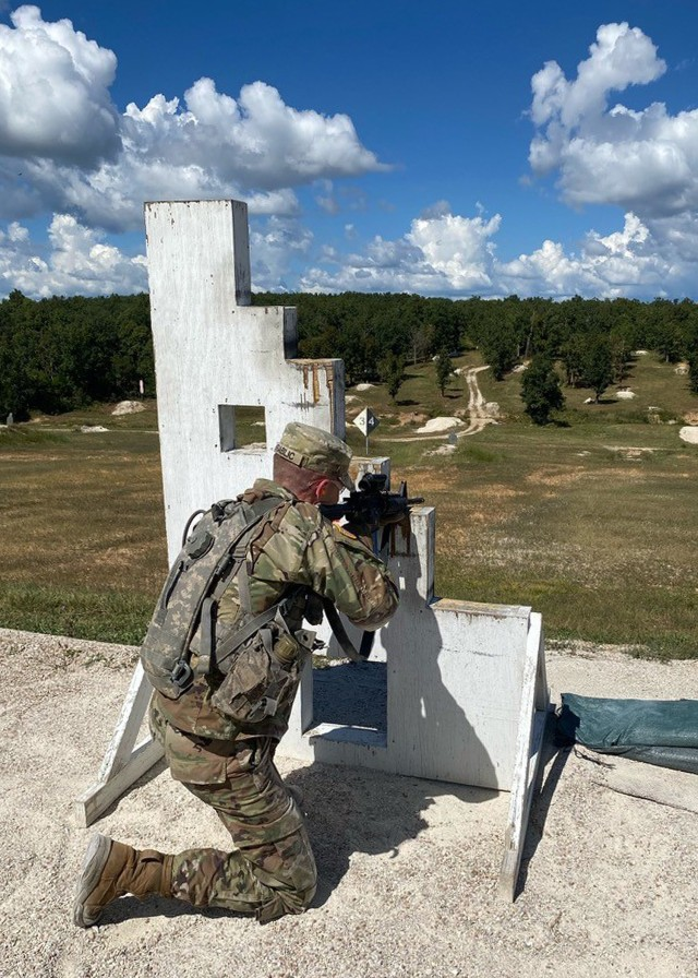 Cadet David Vrablic completes live-fire training Sept. 18 at Range 22, as part of the Army ROTC Gateway Battalion's fall FTX.