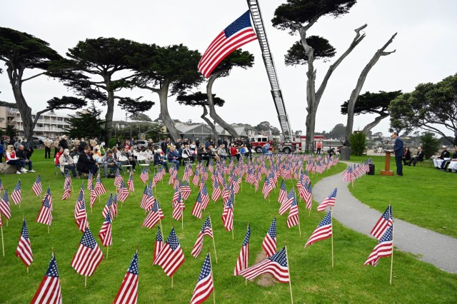 """More than 200 people gather at Lovers Point Park, Pacific Grove, Calif., Sept. 17, for the """"Afghanistan Servicemembers Memorial"""" for the 13 service members killed in action at the Kabul Airport on Aug. 26."""