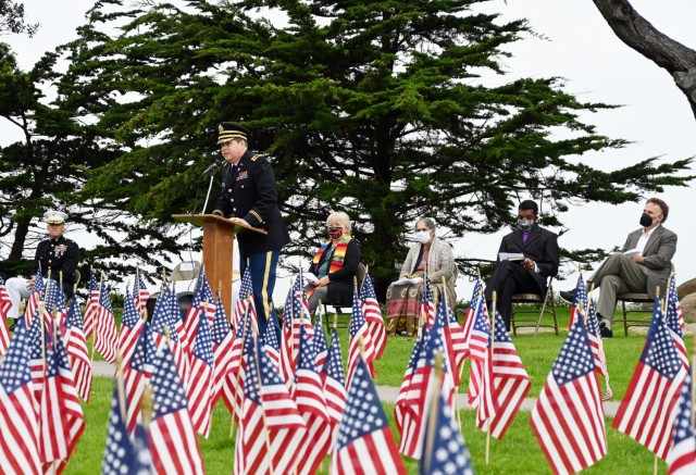 """Chaplain (Maj.) Chester Olson, a chaplain at the Defense Language Institute Foreign Language Center, provides a special invocation at Lovers Point Park, Pacific Grove, Calif., Sept. 17, during the """"Afghanistan Servicemembers Memorial"""" for the 13 service members killed in action at the Kabul Airport on Aug. 26."""
