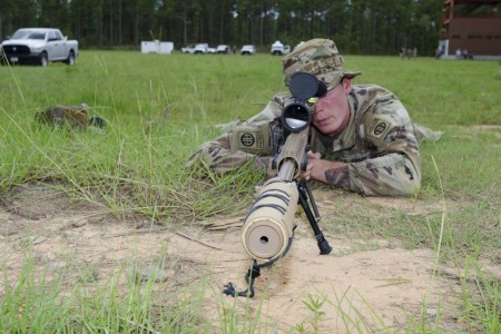 A Sniper conducts post-drop live-fire test trials of the MK-22 Precision Sniper Rifle (PSR) at Range 61, Fort Bragg, North Carolina.