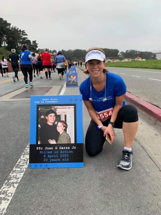 Six months after her husband Pfc. Juan Garza died, Sgt. First Class Casey Hicks ran my first marathon, since then she has kept running for her late husband.