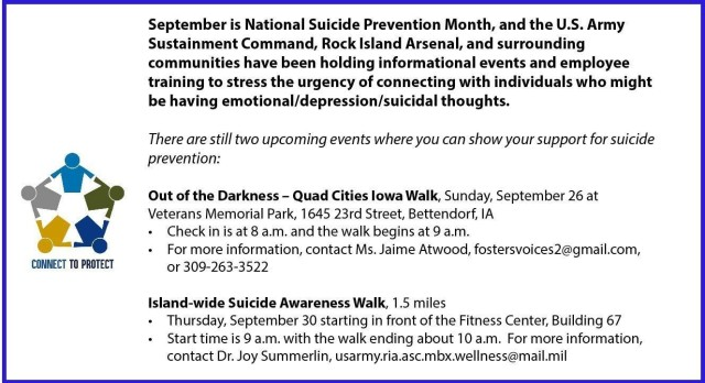 September is National Suicide Prevention Month. Please join us for two local upcoming events to show support for suicide prevention: