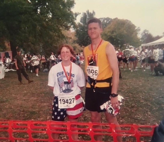 Sgt. First Class Casey Hicks ran her first marathon, the Marine Corps marathon, along her supervisor and friend Staff Sgt. Jeffrey Arbenz-Smith,
