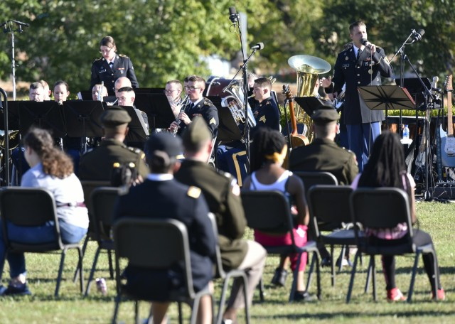 The 399th Army Band held a 45-minute remembrance concert at the Gold Star event, featuring America-themed songs and pieces performed by both the 399th orchestra and their rock band, the Rough Riders.
