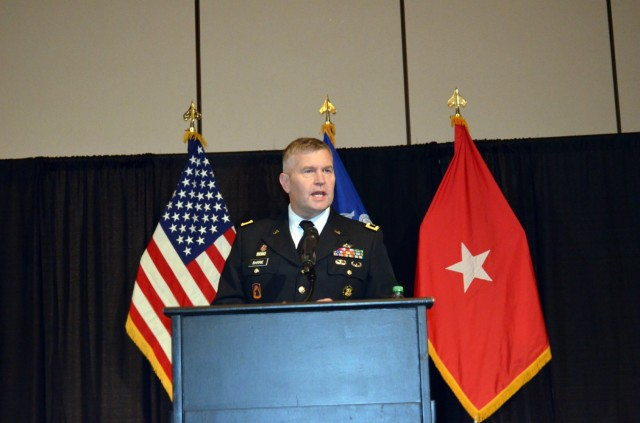 Big. Gen. Rob Barrie, Program Executive Officer for Army Aviation, provides the keynote address at the U.S. Army Future Airborne Capability Environment (FACE) and the Sensor Open System Architecture (SOSA) TIM (Technical Interchange Meeting) Sept. 14 at the Von Braun Center in Huntsville, AL.  The event included discussions and exhibits sharing new advancements and the progress being made for functionality and interoperability of modular open system environments. (Photo by Denise DeMonia)