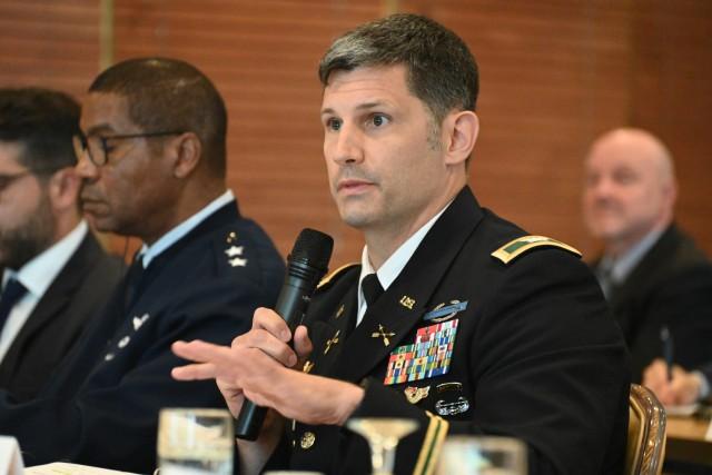 U.S. Army Col. Vance J. Klosinski, commander of U.S. Army Garrison Rheinland-Pfalz, addresses the group at the annual Mayor's Forum Sept. 28.