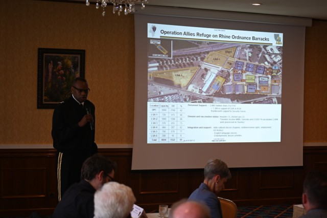 U.S. Army Maj. Gen. James M. Smith, commander of the 21st Theater Sustainment Command, briefs the Mayors Forum about Operation Allies Welcome Sept. 28.
