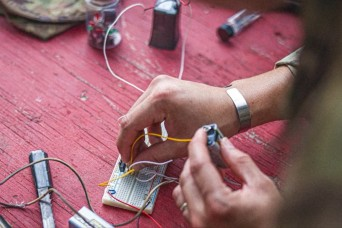U.S. Army Explosive Ordnance Disposal technicians train with disruption tools