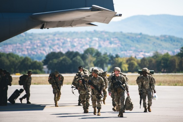 U.S. Army Paratroopers assigned to the 54th Brigade Engineer Battalion (Airborne) deboard a C-130 Hercules at the Constantine the Great Airport to participate in Exercise Skybridge 21 in Niš, Serbia on Sept. 15, 2021.  Skybridge 21 is a bi-lateral training exercise taking place in Serbia from Sept. 13 - 17, 2021. Paratroopers of both the 54th Brigade Engineer Battalion (Airborne), 173rd Airborne Brigade and the 63rd Parachute Brigade, Serbian Armed Forces are working alongside supporting components in order to conduct a joint force airborne operation with a training aerial humanitarian aid package delivery. This exercise enhances the interoperability of allied and partner nations by demonstrating the unit's ability to readily respond to any crisis.  The 173d Airborne Brigade is the U.S. Army's Contingency Response Force in Europe, providing rapidly deployable forces to the United States European, Africa and Central Command areas of responsibility. Forward deployed across Italy and Germany, the brigade routinely trains alongside NATO allies and partners to build partnerships and strengthen the alliance.