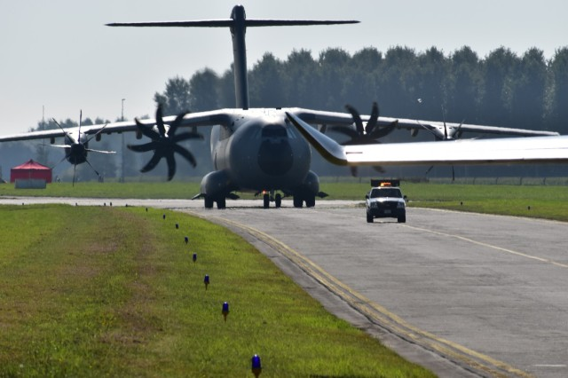 An A400 lands Sept. 25 at Chièvres Air Field, Belgium. Chièvres Air Fest took place Sept. 25, 2021 at Chièvres Air Base, Belgium. The Saturday event was the first time the base was opened to the general public in more than 25 years. (U.S. Army photo by Christophe Morel, USAG Benelux Public Affairs)