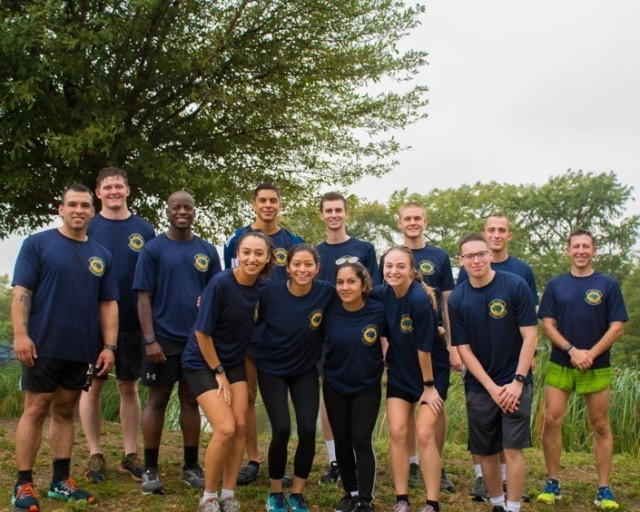 Capt. George Vargas poses with Cadets during his time as a General Cavazos Intern. He is part of the first group of Cavazos interns to be sent out to universities. Upon completing the internship, Vargas will head to his Captain's Career Course. (Photo provided by Capt. Vargas)
