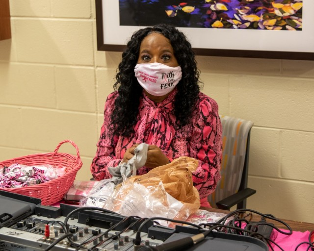 Martin Army Community Hospital Mammography Department's Medical Support Assistant Sharon Solomon distributed goodie bags to kick off Breast Cancer Awareness Month.