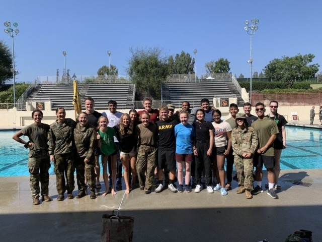 Capt. Pauline Ovalle poses with Cadets from Claremont McKenna College after completing their Combat Water Survival Test (Photo provided by Cpt. Ovalle)