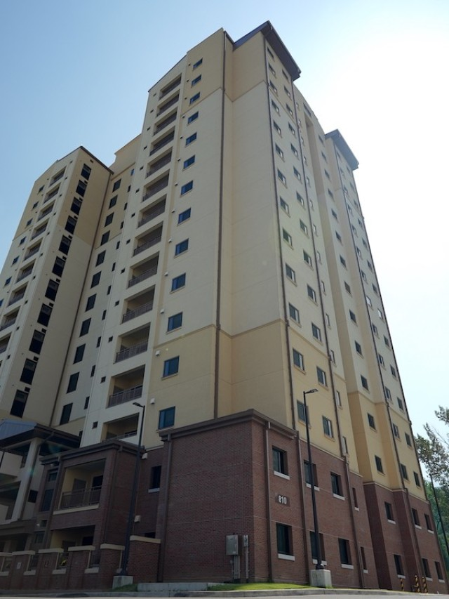 An exterior view of Building 810 at Camp Walker, Tower 2 in Daegu.  The tower offers base residents spacious American-style apartments.