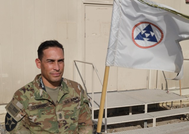 """Army 1st Sgt. Juan C. Colonrosado, deployed to Camp Arifjan, Kuwait, with the Fort Bragg, N.C., based 3rd Expeditionary Sustainment Command,  was born and raised in Puerto Rico before enlisting in the service in December 1998. Colonrosado said there have been sacrifices along the way but he has no regrets. """"If I had stayed home, I would not have become the man I am today."""""""