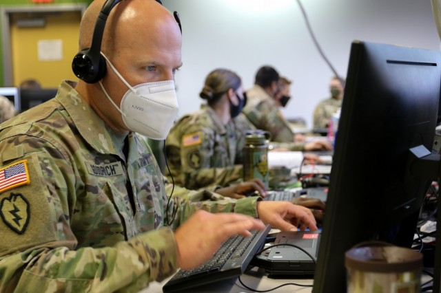 Sgt. 1st Class Gregory Goodrich, a plans and operations noncommissioned officer assigned to Headquarters and Headquarters Battalion, 3rd Infantry Division, participates in Warfighter 22-1 as the main command post battle NCO on Fort Stewart, Georgia, Oct. 4, 2021. As a subordinate unit to the Army's V Corps headquarters in the exercise, the event stressed the integration and reporting of all 3rd ID warfighting functions in a simulation designed to generate tough decisions and catastrophic consequences against a live, free-thinking adversary, from Sept. 27 to Oct. 6.