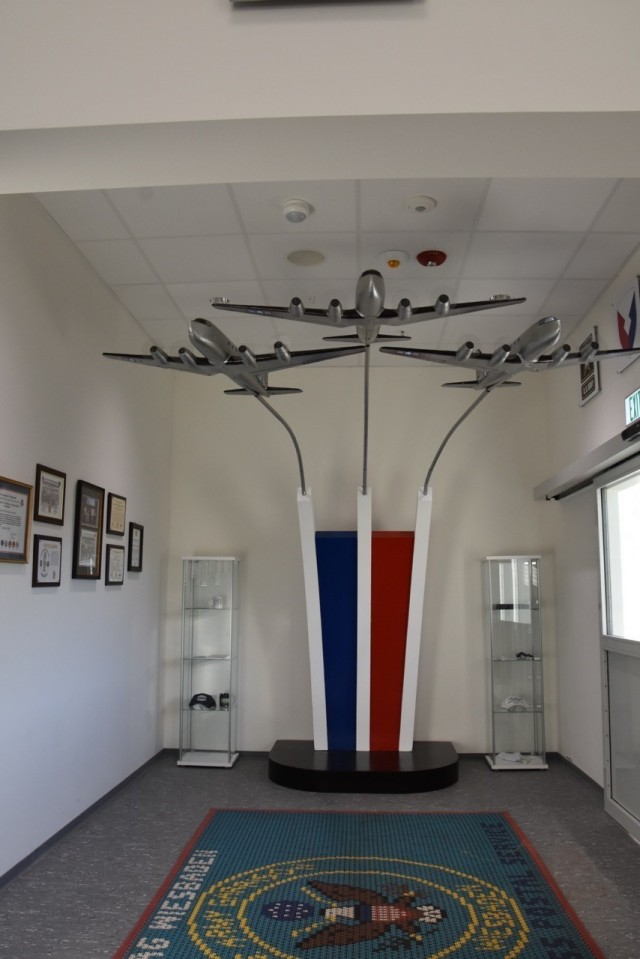 Models of the different aircraft involved during the Berlin Airlift, provided by Dr. John Provan, are on display at the USAG Wiesbaden post office.