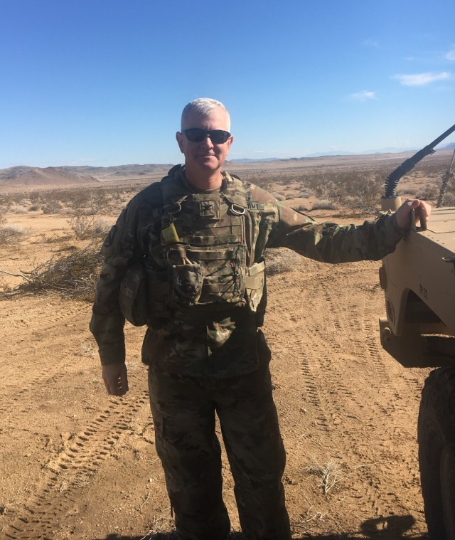 Col. Steven Carozza, then commander of the 1st Cavalry Sustainment Brigade, attends training at the National Training Center Fort Irwin, California in January 2019.  (Courtesy Photo)