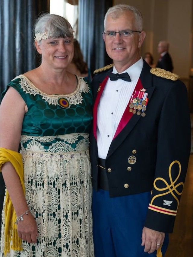 Col. Steven Carozza, U.S. Army Tank-automotive and Armaments Command chief of staff, and his wife Denise attend the National Defense Industrial Association of Michigan's annual dinner banquet at the Grosse Pointe Yacht Club Jul. 16, 2021. (Courtesy Photo)