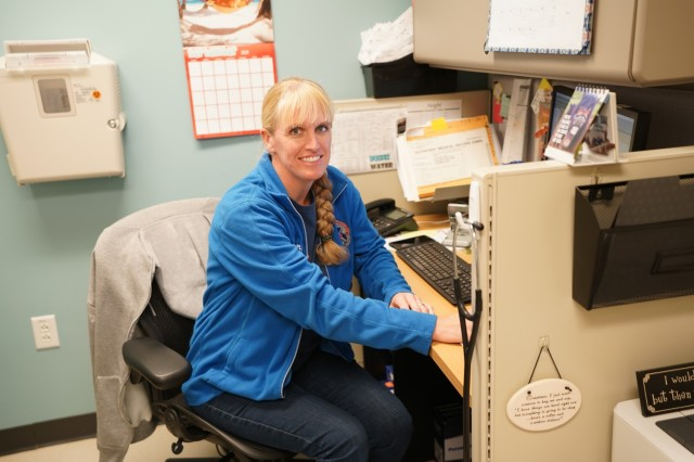 Martin Army Community Hospital's Department of Warrior Care Physician Assistant Jennifer Wampler in her office at Winder Clinic.