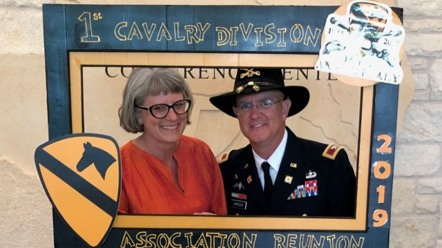Col. Steven Carozza, then commander of the 1st Cavalry Sustainment Brigade, and his wife Denise attend the 2019 1st Cavalry Division Association Reunion. (Courtesy Photo)
